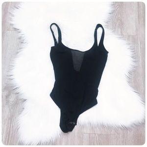 Topshop black bodysuit mesh inset 2